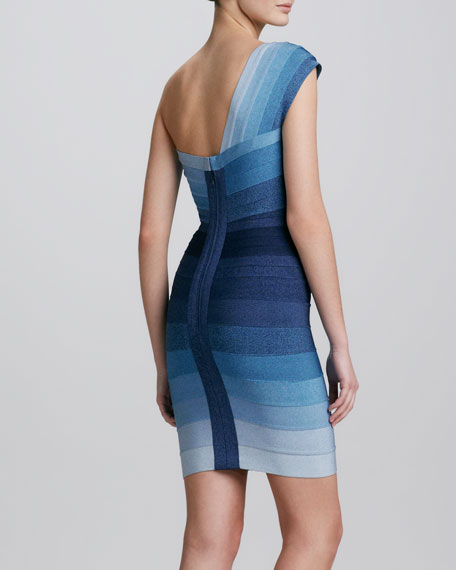 One-Shoulder Ombre Bandage Dress