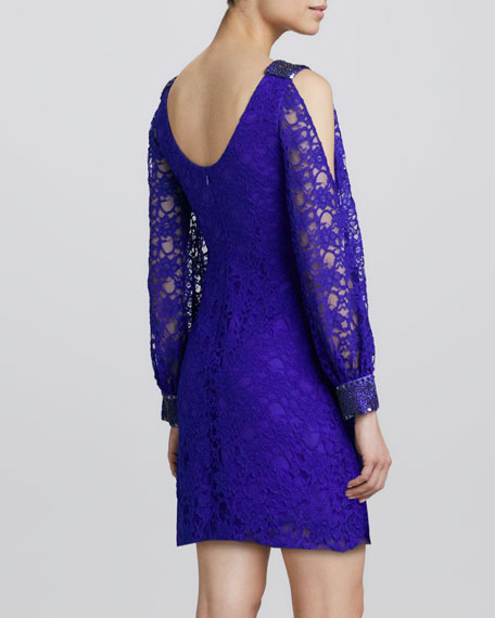 Lace Cold-Shoulder Cocktail Dress