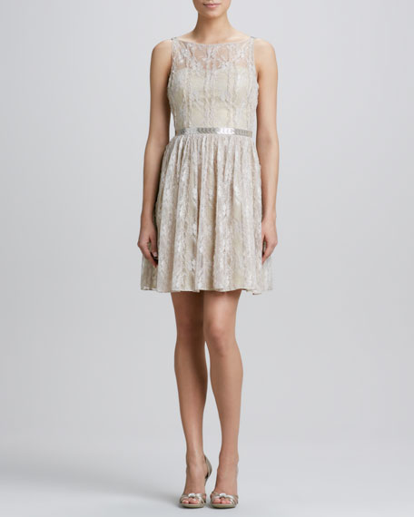 Lace Overlay Beaded-Waist Cocktail Dress