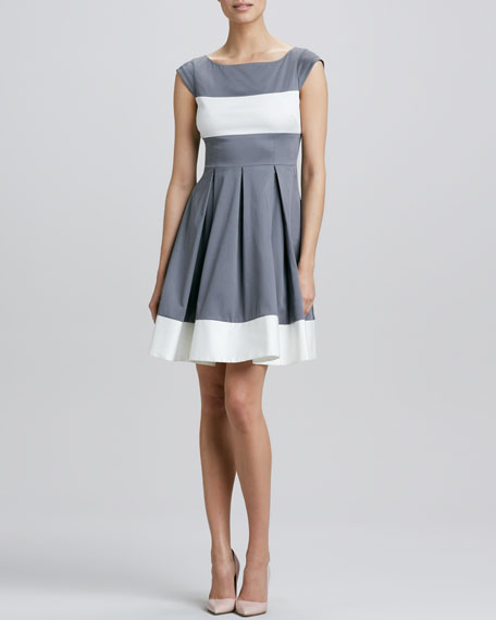 adette cap-sleeve colorblock dress