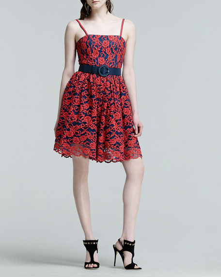 Belted Lace Contrast Dress