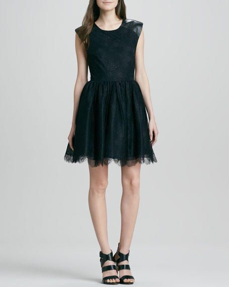 Nelly Lace/Leather Mini Dress