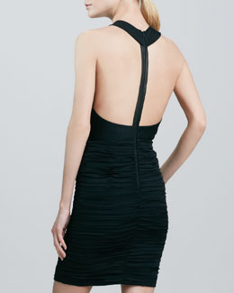 Alice + Olivia Elaina Leather-T-Back Dress