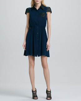 Alice + Olivia Kendale Leather-Sleeve Dress