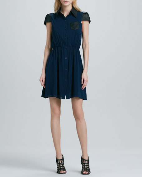 Kendale Leather-Sleeve Dress