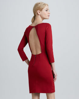Alice + Olivia Caro Open-Back 3/4-Sleeve Dress