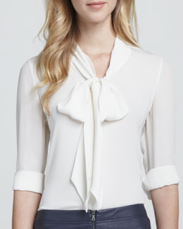 Alice + Olivia Arie Tie-Neck Blouse
