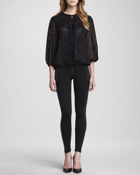 Ponte/Leather Combo Leggings