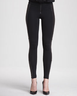 Alice + Olivia Ponte/Leather Combo Leggings