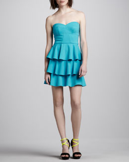 Amanda Uprichard Tiered Ruffled Strapless Dress