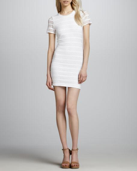 Laser-Cut Eyelet Dress