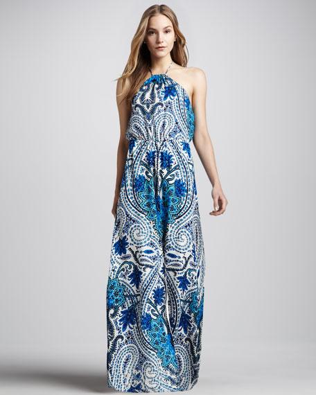 Paisley-Print Halter Maxi Dress