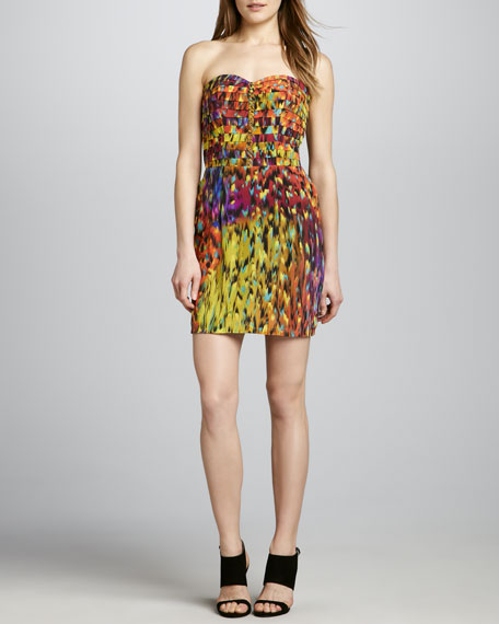 Printed Pintuck Strapless Dress