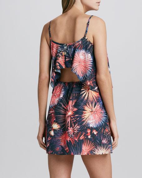 Fireworks-Print Tiered Dress