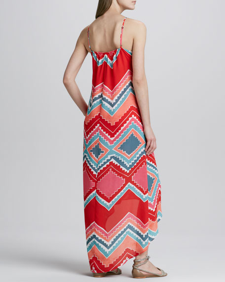 Tribal-Print Hi-Lo Maxi Dress