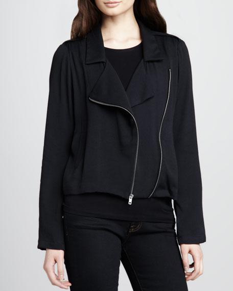 Izabella Asymmetric Zip Jacket, Black