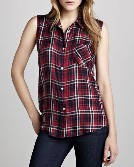 Gavin Sleeveless Plaid Blouse