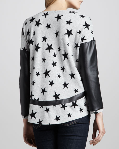 Bobo Printed Leather-Sleeve Sweater