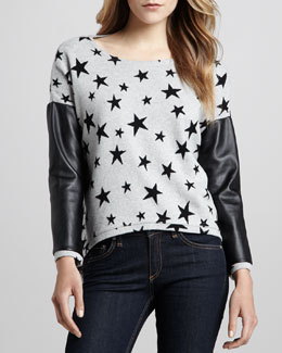 Generation Love Bobo Printed Leather-Sleeve Sweater