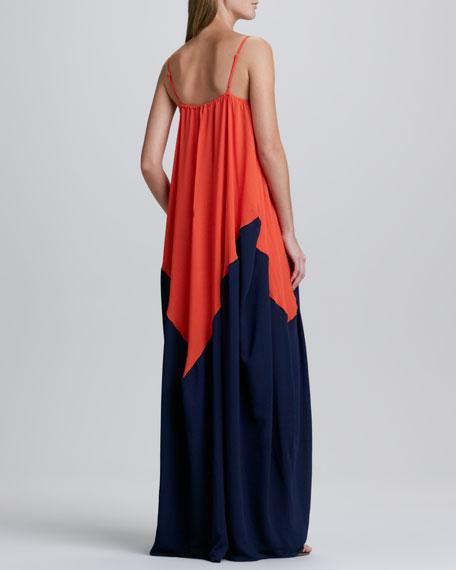 Colorblock Spaghetti-Strap Gown