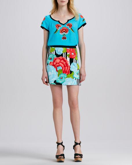 Flamenco Floral-Print Skirt