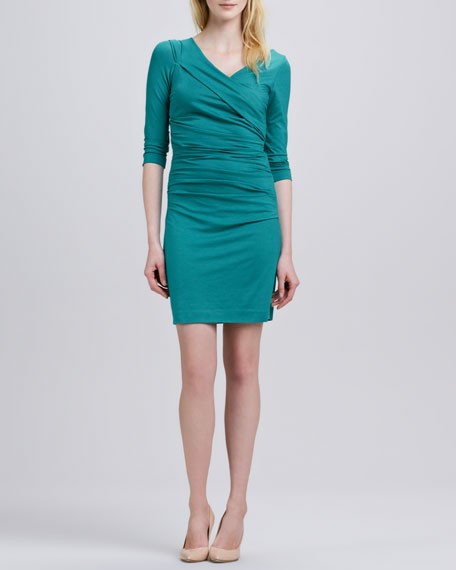 Bentley Three-Quarter-Sleeve Ruched Dress