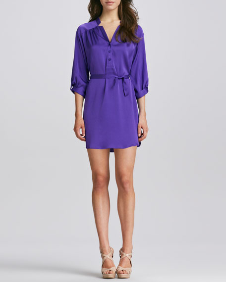 Stella Satin Tie-Waist Shirtdress