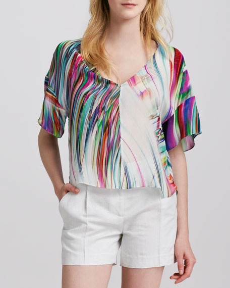 Kimono Swirled Silk Blouse
