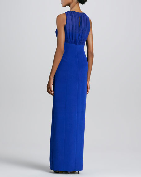 Sleeveless Gathered Jewel-Neck Gown, Cobalt
