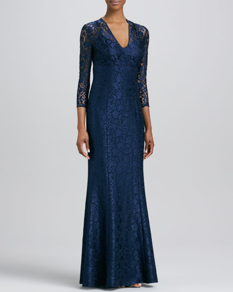 V-Neck Lace Bust Gown