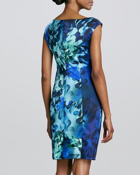 V-Neck Floral-Printed Cocktail Dress
