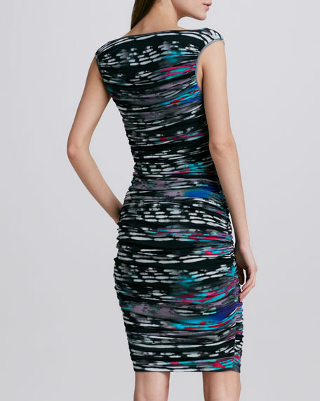 Printed Ruched-Jersey Dress