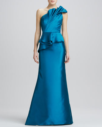 One-Shoulder Satin Peplum Gown