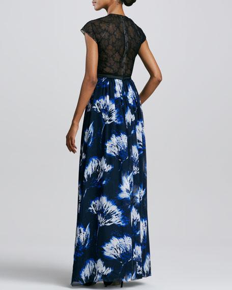 Printed Cap-Sleeve Gown