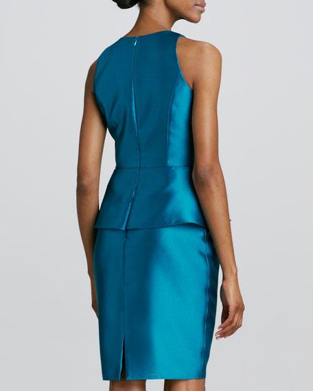 Jewel-Neck Peplum Cocktail Dress