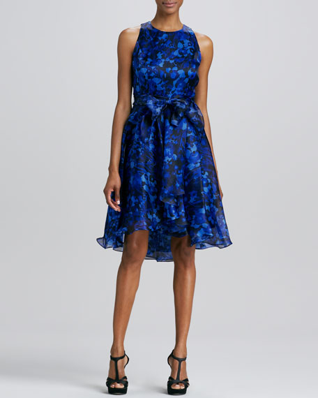 Jewel-Neck Printed Ruffled Cocktail Dress