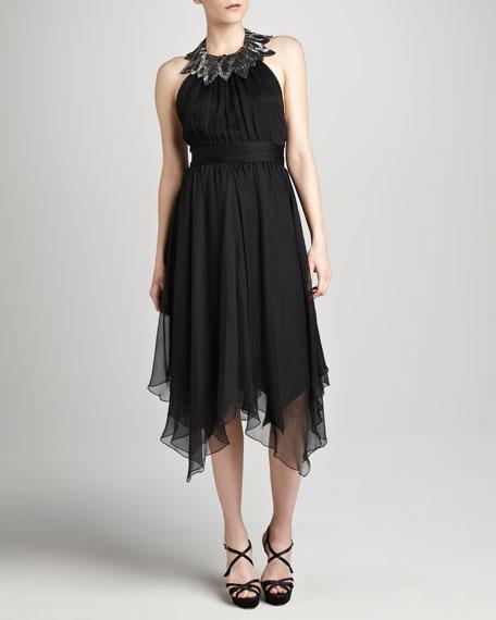Halter Dress with Embellished Yoke