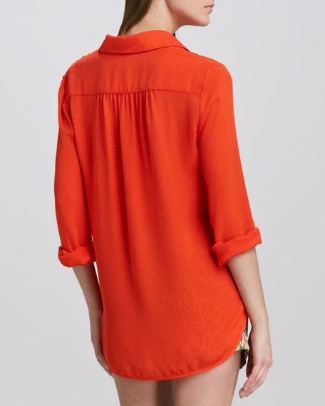 Pullover Silk Henley Shirt
