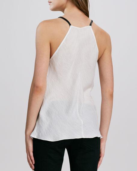 Sleeveless Leather-Neck Top