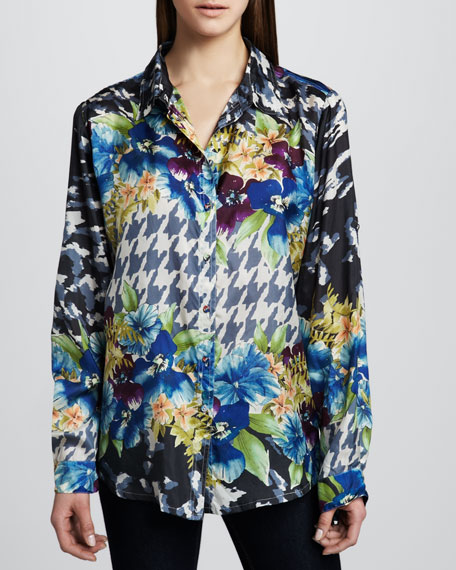 Mixed-Print Georgette Top