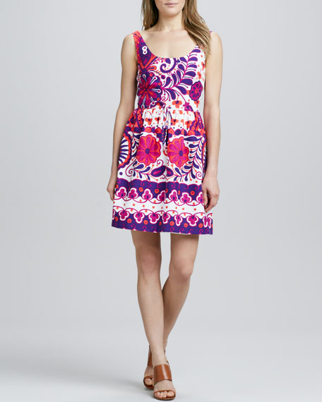 Printed Scoop-Neck Dress