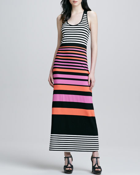 Striped Scoop-Neck Maxi Dress