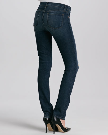 Mid-Rise Distressed Slim Jeans