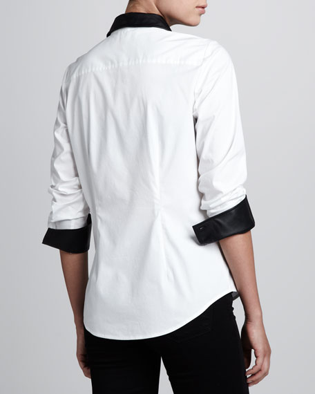 Shirt with Faux Leather Trim