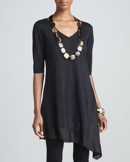 Layered V-Neck Asymmetric Tunic