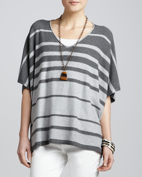 Variegated Striped V-Neck Box Top