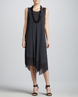 Eileen Fisher Asymmetric Sheer-Hem Dress