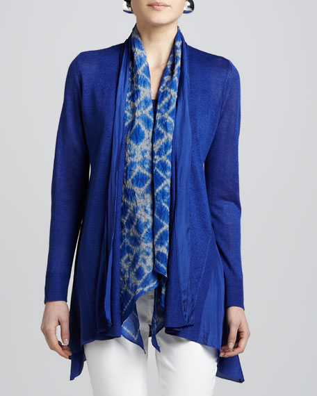 Blue Linen Silk Long Cardigan