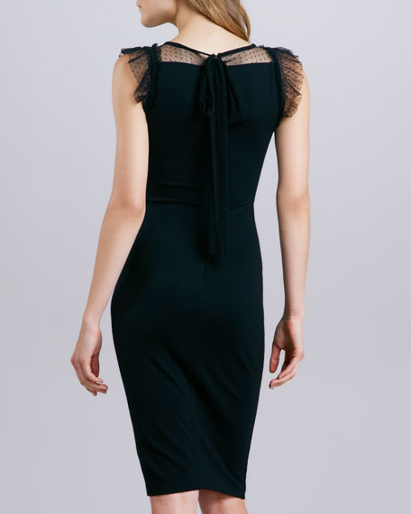 Jersey Point d'Esprit Dress, Black
