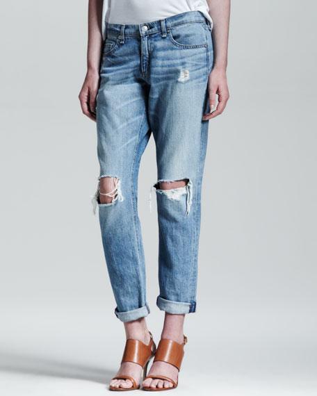 Boyfriend Moss Ripped-Knee Jeans